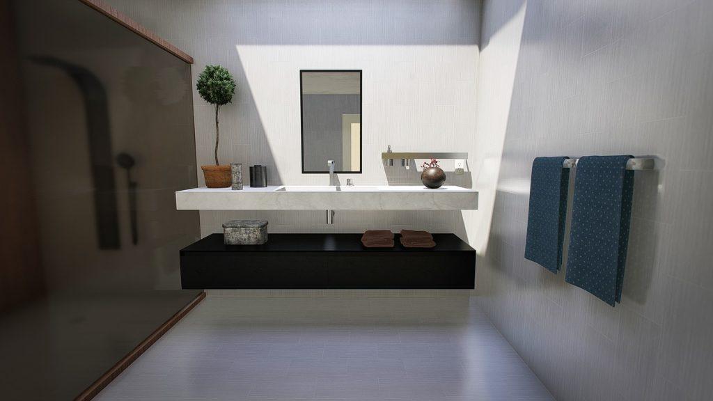 חדר מקלחת מקלחון שחור